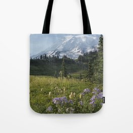 Wildflowers and Mount Rainier Tote Bag