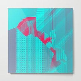 Sky Blue American Glitch Metal Print