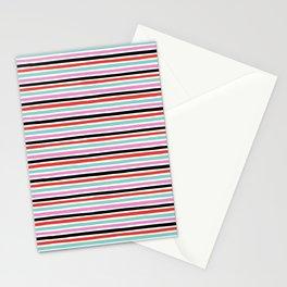 Abstract, Stripes, Red, Pink, Blue, Black, Pop art, Minimal, Pattern, Modern art Stationery Cards