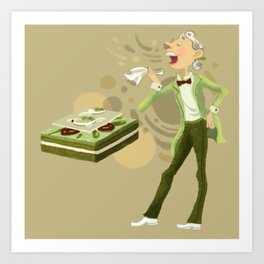 Green Tea Opera cake Art Print