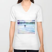 surfer V-neck T-shirts featuring Surfer Boys by Teresa Chipperfield Studios