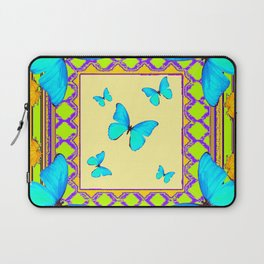 Decorative Cream & Turquoise Butterfly Art Laptop Sleeve