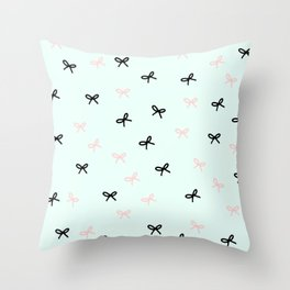 Cute Bows on blue background Throw Pillow