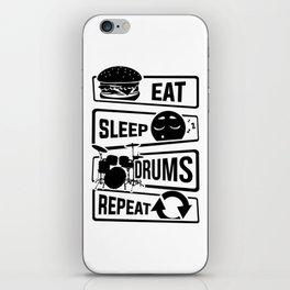 Eat Sleep Drums Repeat - Drummer Music Instrument iPhone Skin