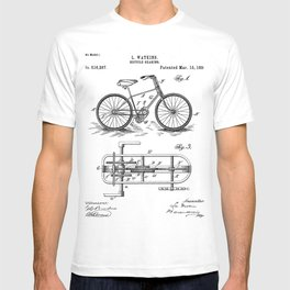 Bike Patent - Bicycle Art - Black And White T-shirt