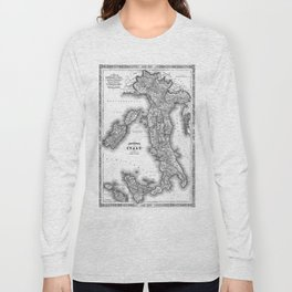 Vintage Map of Italy (1864) BW Long Sleeve T-shirt