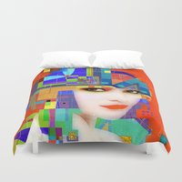 nouveau Duvet Covers featuring Nouveau Girl 2 by Steve W Schwartz Art
