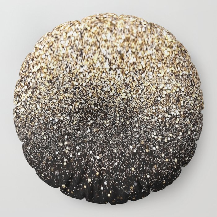 Black & Gold Sparkle Floor Pillow