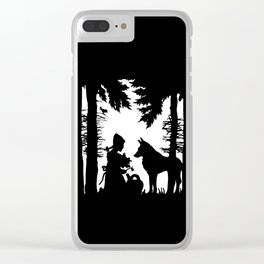 Black Silhouette Red Riding Hood Wolf in Woods Trees Clear iPhone Case
