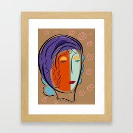 Minimal Expressionist Portrait Orange and Blue Framed Art Print
