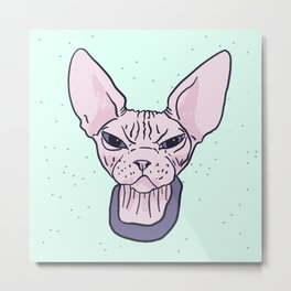 Super Grumpy Wrinkly Naked Sphynx Kitty - Nekkie with an Attitude - Line Drawing Tattoo Style - Mint Background Metal Print