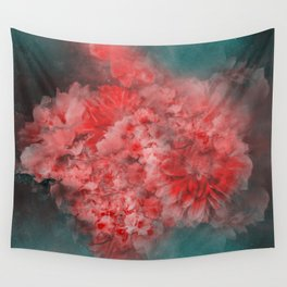 Abstract Red Flowers Wall Tapestry