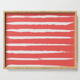 Irregular Hand Painted Stripes Coral Red Serving Tray
