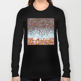bunnies, flowers, and butterflies Long Sleeve T-shirt