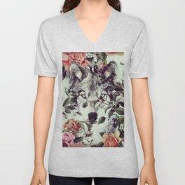 Floral Wolf Unisex V-Neck