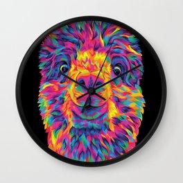 A Silly Rainbow Alpaca Wall Clock