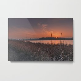 Sunset over the marshes Metal Print