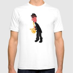 A man playing saxophone SMALL White Mens Fitted Tee