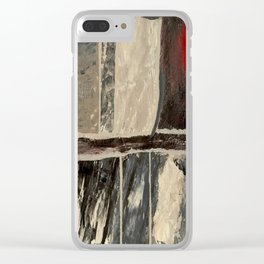 Textured Marble Popular Painterly Abstract Pattern - Black White Gray Red Clear iPhone Case