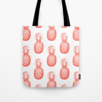pinapple Tote Bags featuring Coral Pineapple by CumulusFactory