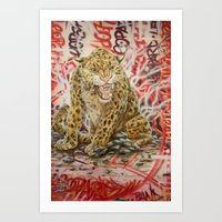 leopard Art Prints featuring Leopard by Michael Hammond