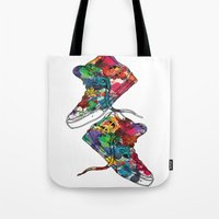 sneakers Tote Bags featuring Paint sneakers by Cindys