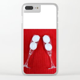 Easter design with champagne flutes and white eggs Clear iPhone Case