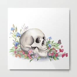 Skull Still Life With Wild Flowers Metal Print