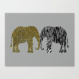 Elephants in Animal Prints Canvas Print