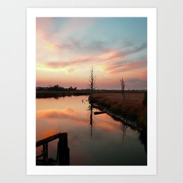 Sunset on Smith Creek Wilmington, NC Art Print