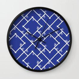 Bamboo Chinoiserie Lattice in Blue + White Wall Clock