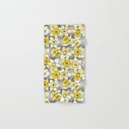 Daffodil Daze - yellow & grey daffodil illustration pattern Hand & Bath Towel