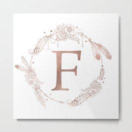 Letter F Rose Gold Pink Initial Monogram Metal Print