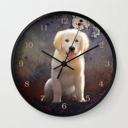 Golden Retriever Puppy Wall Clock