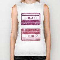 cassette Biker Tanks featuring Cassette by Brita A