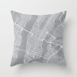New York City Map, New York USA - Pewter Throw Pillow