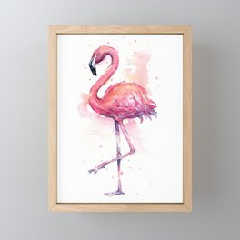 Pink Flamingo Watercolor Tropical Bird Framed Mini Art Print
