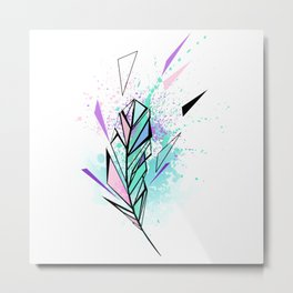 Polygonal Feather with Watercolor Metal Print