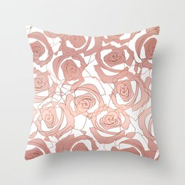 Pour The Rosé - Roses Gold Copper Throw Pillow