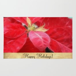 Mottled Red Poinsettia 2 Happy Holidays S2F1 Rug