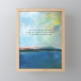 Abstract Ocean Painting and Colorful Sky with Poem Framed Mini Art Print