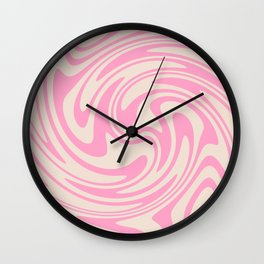 70s Retro Swirl Pink Color Abstract Wall Clock