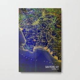 San Pedro Bay,California,old map, year 1904, us map,usa maps Metal Print