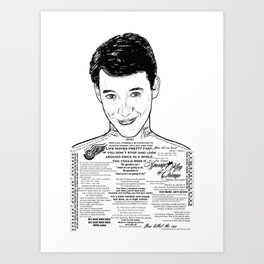 Save Ferris The Righteous Dude - Ink'd Series Art Print