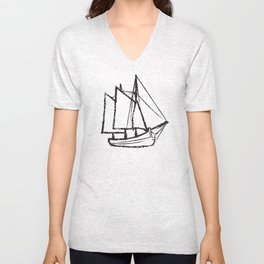 Ship Line Art Unisex V-Neck