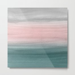 Touching Teal Blush Gray Watercolor Abstract #1 #painting #decor #art #society6 Metal Print