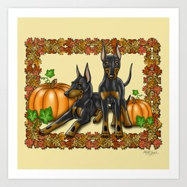 Manchester Terrier Autumn and Pumpkins Art Print