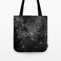 north carolina Tote Bags featuring raleigh map north carolina by Line Line Lines