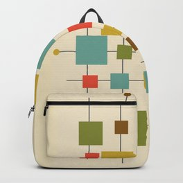 Mid-Century Modern Geometric Abstract Squares - Multi-colour Backpack