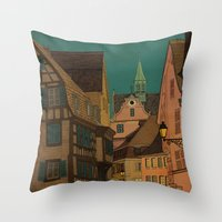 jazzberry Throw Pillows featuring Evening by Megs stuff...